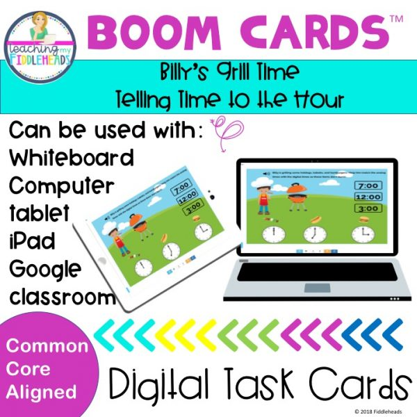 Telling time to the hour boom cards