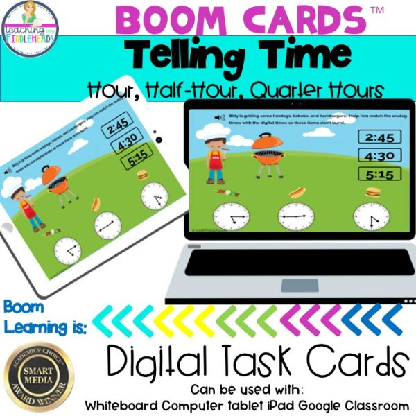Telling Time to the Hour, Half-Hour, Quarter Hours Boom Cards