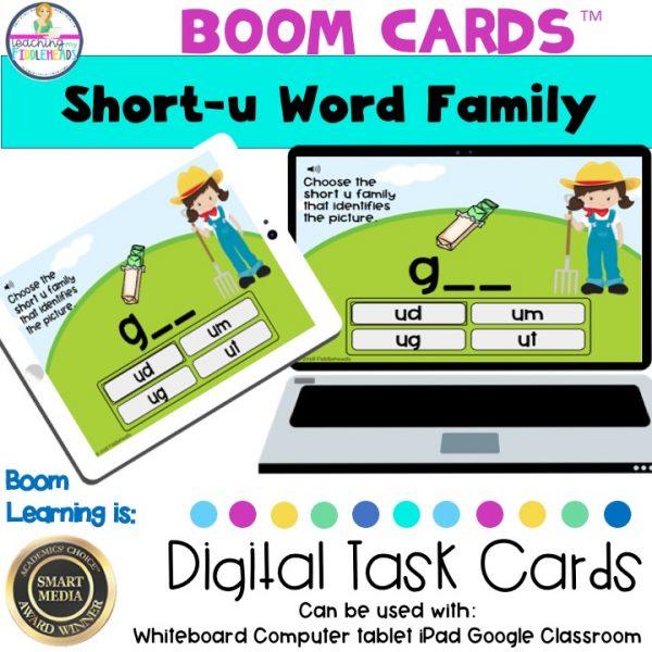 Short u CVC Word Family Boom Cards
