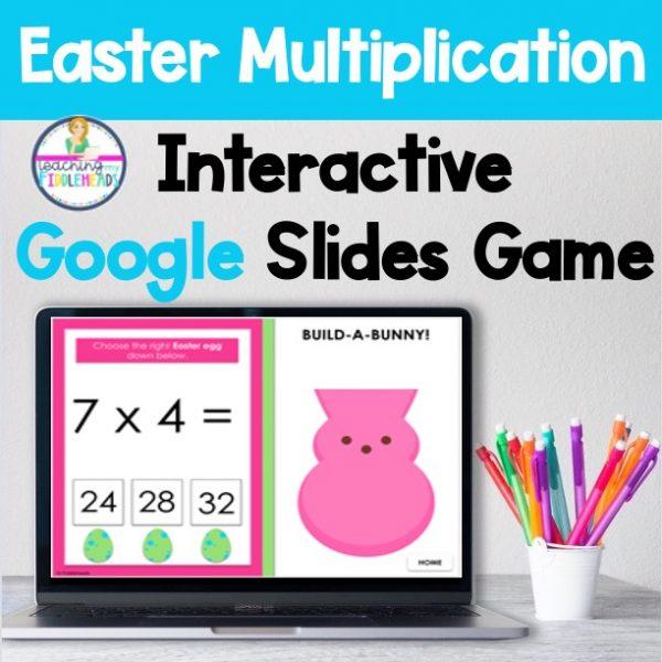 Multiplication Facts Math Google Slides Game Easter Themed