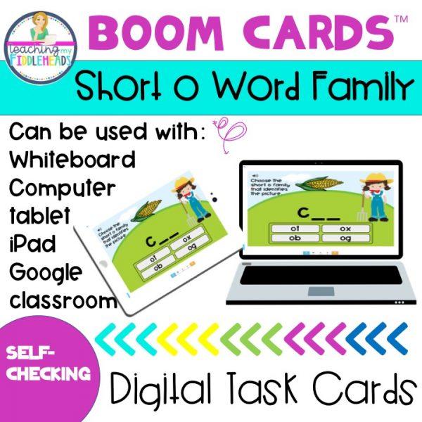 Short o Word Family CVC Boom Cards
