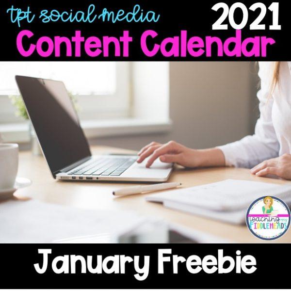 January 2021 TpT Social Media Content Calendar FREEBIE