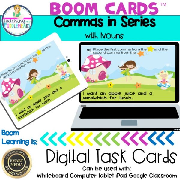 Commas in Series with Nouns Boom Cards