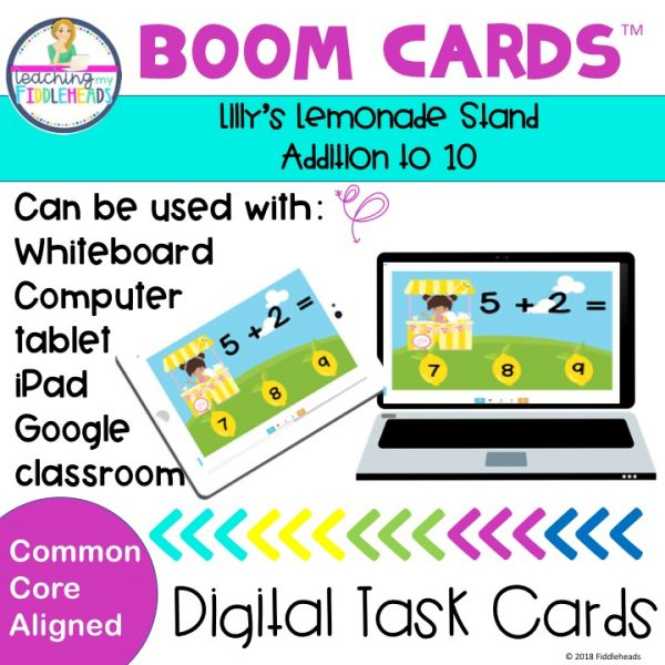 Addition Within 10 Boom Cards Lilly's Lemonade Stand