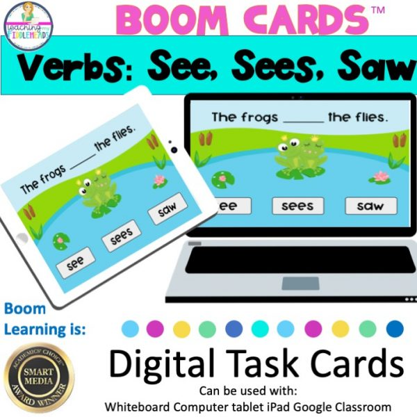 """Verbs """"See"""", """"Sees"""", and """"Saw"""" Boom Cards"""