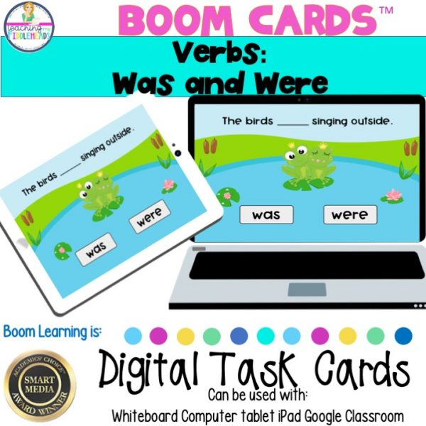 Verbs: Was and Were Digital Boom Task Cards