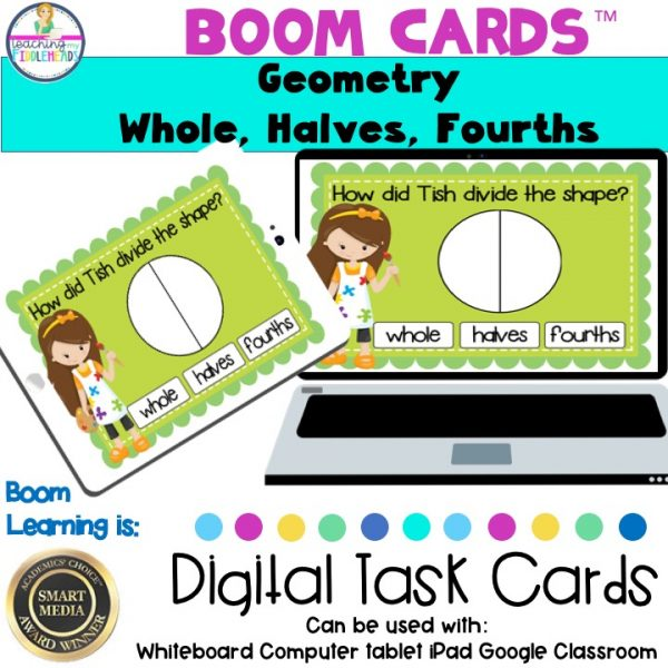 Geometry Whole, Halves, Fourths Digital Boom Cards