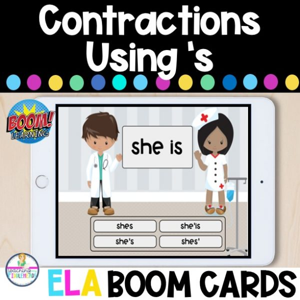 Contractions with Is, Has, and Us ELA Boom Cards
