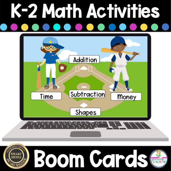 K-2 Math Review Boom Card Addition Subtraction Money Shapes Time