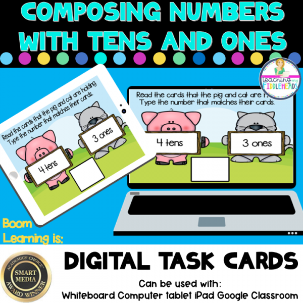 Composing Numbers Base Tens and Ones Digital Boom Task Cards