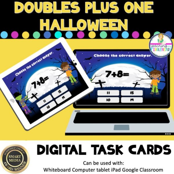 Doubles Plus One Halloween Digital Boom Task Cards