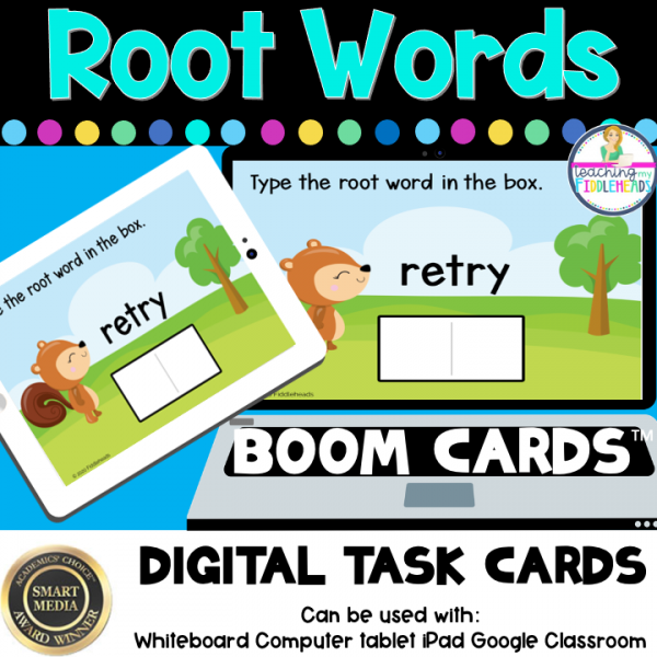 Identify Root Words Digital BOOM CARDS Distance Learning
