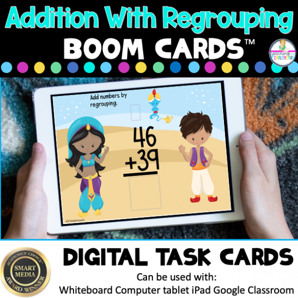 Two Digit Addition with Regrouping Digital Boom Task Cards