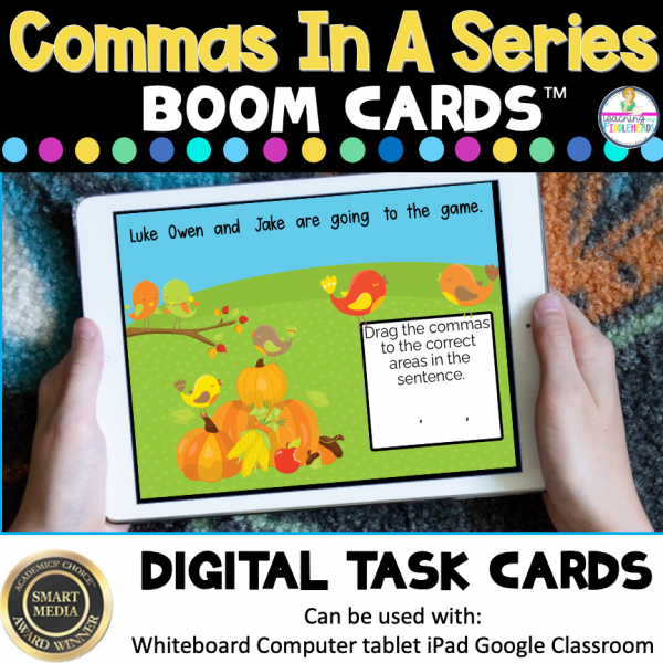 Commas in Series of Three Boom Cards