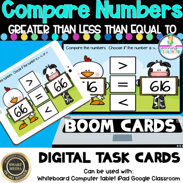 Comparing Greater Than Less Than Equal in Tens Digital Boom Task Cards