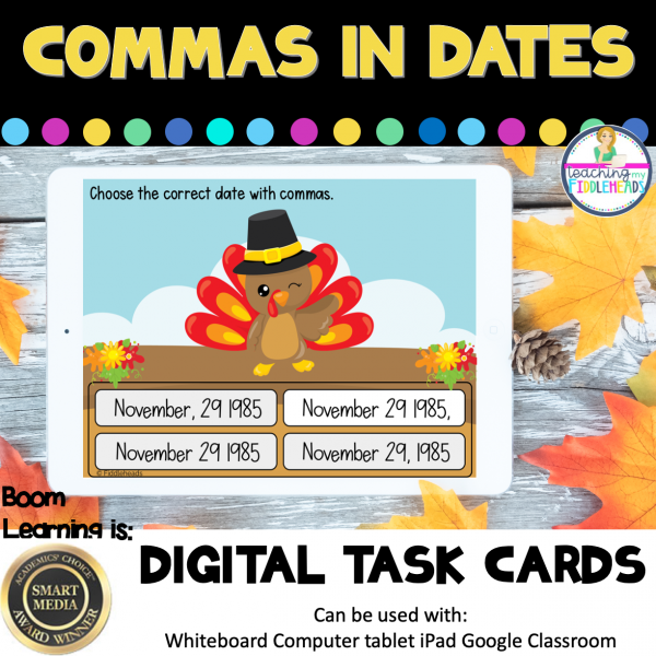 Using Commas in Dates Boom Cards