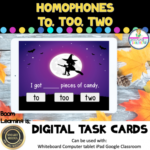 Homophones To, Too, and Two Halloween Boom Cards