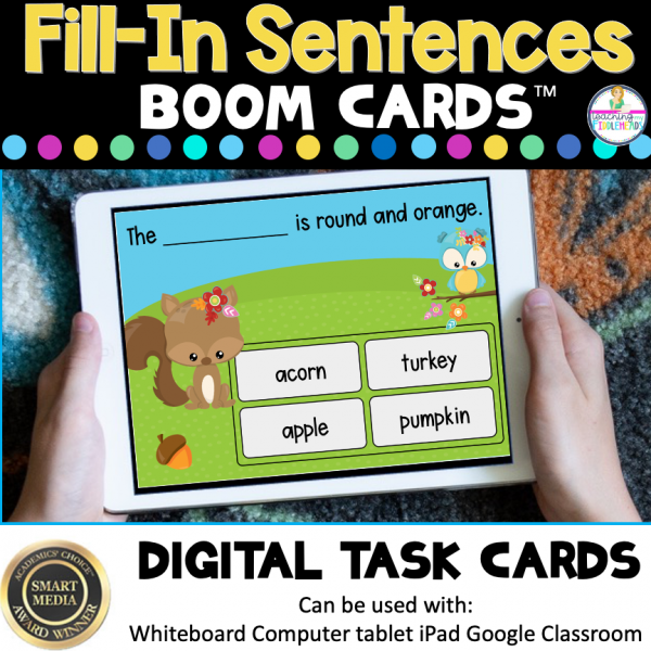 Fall Fill In Sentence Building Boom Cards