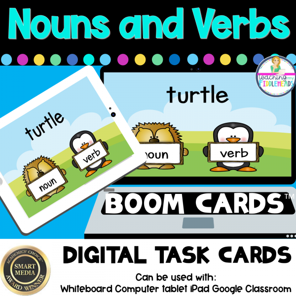 Noun and Verb Sort Digital BOOM CARDS Distance Learning
