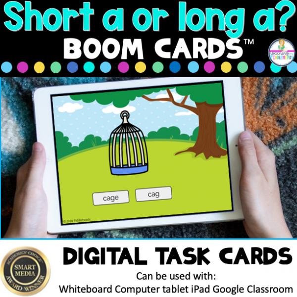 Long a or Short a? CVCe and CVC Words Boom Cards