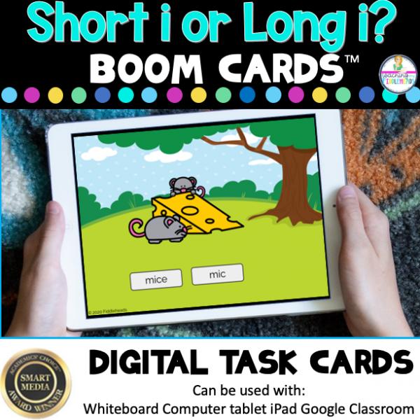 Long i or Short i? CVCe and CVC Words Boom Cards