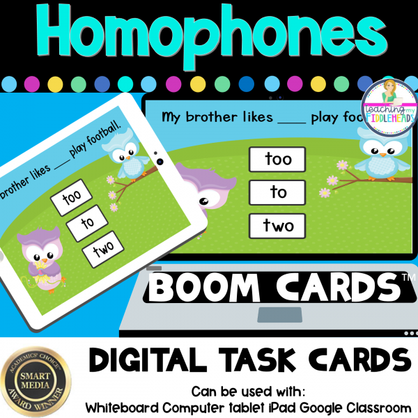 Homophones To, Too, Two Digital BOOM CARDS Distance Learning