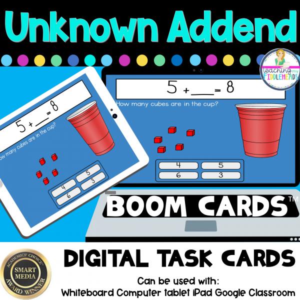 One Unknown Addend Adding Digital Boom Task Cards
