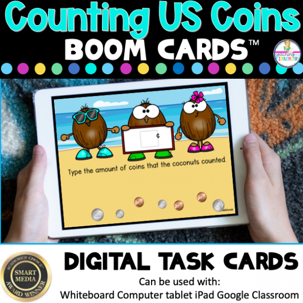 Counting U.S. Coins Boom Digital Task Cards
