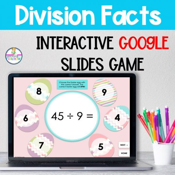 Division Facts Math Google Slides Game Easter Themed