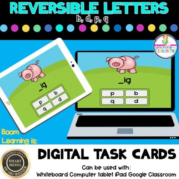 Reversible Letters b, d, p, q Digital Boom Task Cards