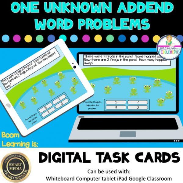 One Unknown Addend Word Problems Digital Boom Task Cards