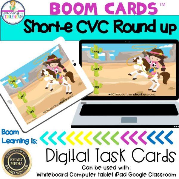 Short e Word Family Roundup CVC Boom Cards