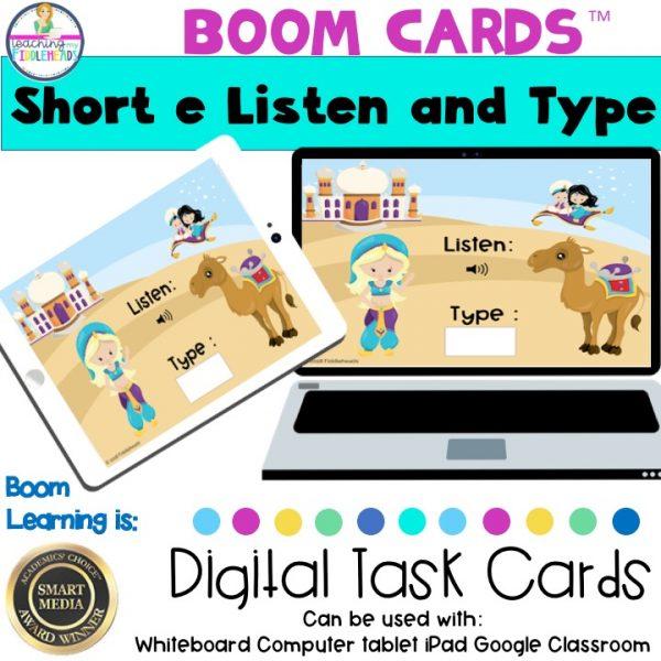 Short e Listen and Type CVC Boom Cards