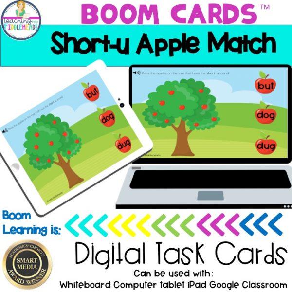 Short u Word Apple Match CVC Boom Cards
