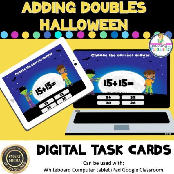 Adding Doubles Halloween Digital Boom Task Cards