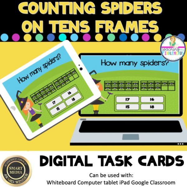Add Spiders with Ten Frames to 20 Digital Boom Task Cards