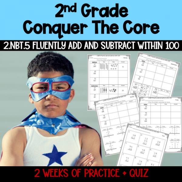 Second Grade Adding and Subtracting Within 100 2.NBT.5 No Prep Worksheet Packet