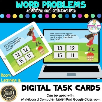 Addition and Subtraction Word Problems Digital Boom Task Cards
