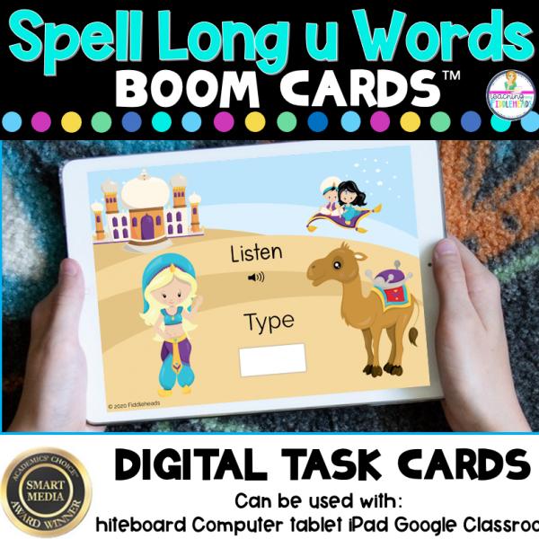 Listen and Spell Long u Words CVCe Boom Cards